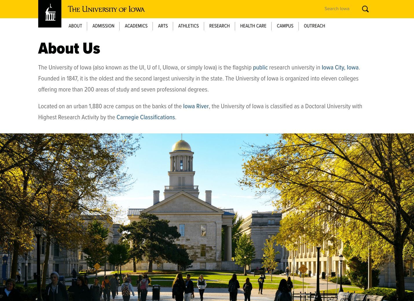 University of Iowa Home Page Redesign Interior Sample Page